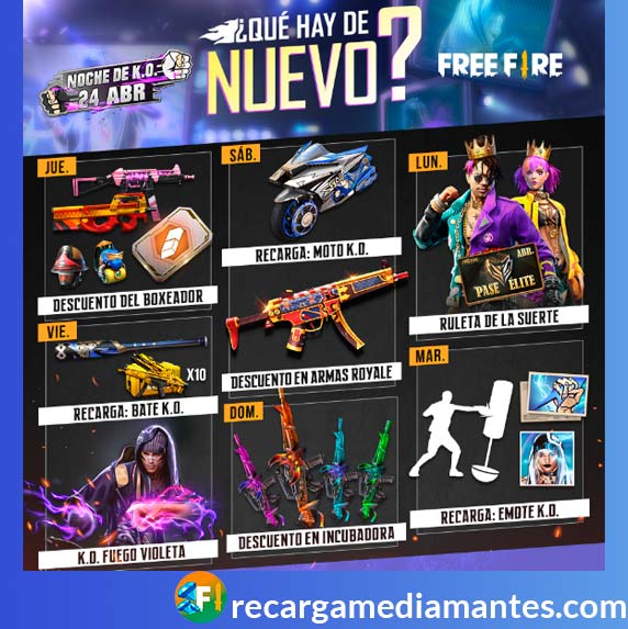 Agenda Semanal Free Fire 20/04